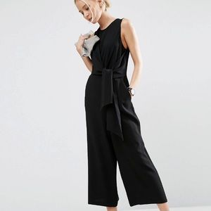 ASOS Side Tie Open Back Cropped Leg Jumpsuit